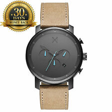 MVMT Watch Chrono Gun Metal Sandstone Leather Strap 12 Hour Men's Watch Casual