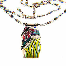 Chico's Butterfly Enamel Pendant Necklace Double Strand