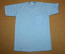 S * NOS thin vtg 80s BLANK light blue POCKET 50/50 t shirt * LBS13 small