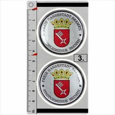 Bremen​ set of 2 German Number Plate Seal Stadt Resin 3D Domed Sticker Badge