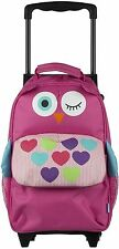 MY DOODLES KIDS PULL ALONG SUITCASE CHILDS FUN TROLLEY BAG BACKPACK - PINK OWL