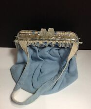 VINTAGE  Blue/Cream Fabric Purse With Lucite Frame/Square Kiss-Lock-1950's