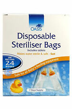 NEW! Oasis Disposable Steriliser Bags x7, ideal for holiday/travel for baby