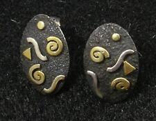 """.925 Sterling Silver 22K Gold Post Stud Oval Earrings Swirl Triangle Wave 3/4"""""""