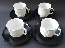 Rosenthal Porcelain Black White Tapio Wirkkala Variation Set 4 Coffee Cups Noire