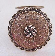 Marked W Germany Scarf Brooch Gold Tone Round Clip On Pin