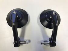 Pair (2) TRIUMPH Thruxton  Bar End Mirrors  Black Aluminium CNC 7/8 To 1""