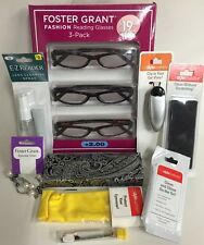 3 Pack Foster Grant Clementine +2.00 Fashion Glasses w/Accessories Set New