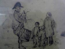 """Ecole du XIXème 2 dessins mine de plomb """"Cavalier à cheval + Le garde champêtre"""
