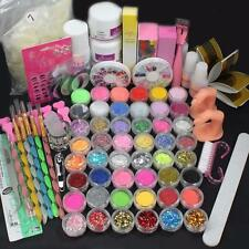 Full 48 Pots Acrylic Nail Art Powder Glitter UV Gel Clipper Brush Tip Set Kits