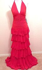 NWT JESSICA McCLINTOCK GUNNE SAX $219 Long Red Evening Gown Halter Dress 7 S