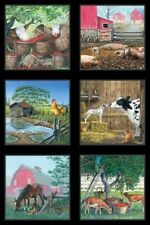 FARM LIFE BARNS HORSES PIGS CHICKENS SCENIC FABRIC PANEL