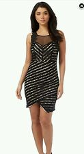 LIPSY MICHELLE KEEGAN NUDE BLOCK BLACK LACE ASYMMETRIC DRESS SIZE 14 NEW