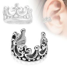 One PC Crown Design Rhodium Plated Brass Non Piercing Ear Cuff