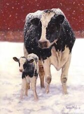 First Christmas by Bonnie Mohr Cow and Calf Print 12x16