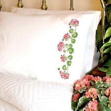 Dimensions Stamped Cross Stitch Kit Pillow Cases SUMMER GERANIUMS #72-73887 Sale