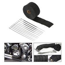 Black Car Motorcycle 5m Heat Wrap Exhaust Manifold Downpipe Pipe 10 Ties C3N5