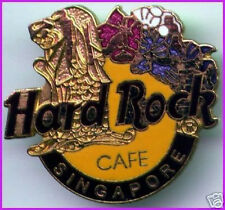 Hard Rock Cafe SINGAPORE 1990s Gold Merlion Flowers HRC Logo PIN