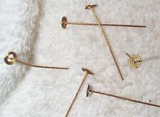 VINTAGE UNIQUE SPIRAL END BRASS HEAD PINS FINDINGS 28 PIECES NICE/DESIGN WORK