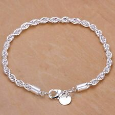 Fashion Women 925 Sterling Silver Plated Twisted Bracelet Cuff Bangle Chain 1PCS