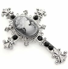 New Silver Tone Filigree Gothic Cross Cameo Brooch Black Crystal in Gift Box