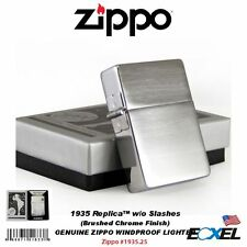 Zippo #1935.25 1935 Replica Lighter, w/o Slashes, Brushed Chrome, Windproof