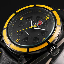 3D Dial SHARK Fashion Men's Leather Quartz Black Yellow Sport Wrist Watch+Box