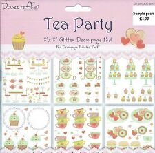 DOVECRAFT 8 X 8 GLITTER DECOUPAGE SAMPLE PACK -TEA PARTY- 6 SHEETS