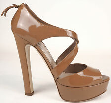 Miu Miu Strappy Mocha Patent Leather Zip Up Peep Toe Platform Pumps 40 9.5 $735