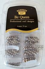 Be Queen D485 Professional Nail Design Tips 70ct White with Black & Silver/Gold
