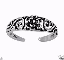 Adjustable Flower Toe Ring Sterling Silver 925 Fashion Beach Jewelry Gift 5 mm
