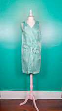 MOSCHINO AQUA BLUE BROCADE DRAPED SHIFT DRESS 44 NWT