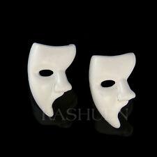 Phantom of the Opera Masquerade Mask White Enamel Broadway Musical Stud Earrings
