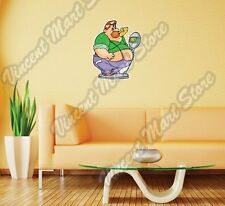 "Funny Fat Man On Scale Eating Diet Wall Sticker Room Interior Decor 20""X25"""