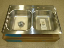 """NOS! POLAR STAINLESS STEEL SINK, 4-HOLE 33"""" X 22"""" X 6"""" DOUBLE SINK #533-E"""