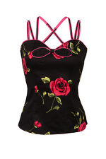 VOODOO VIXEN ROCKABILLY PIN UP RETRO TATTOO ROSES DOLL 50'S TOP SHIRT S TPA1546