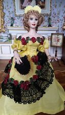 Miniature Dollhouse Artisan Porcelain Lady Yellow Spanish style Gown