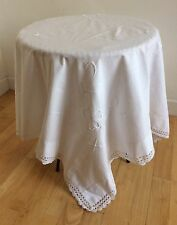 Antique 1800s Tablecloth Heavy Irish Linen Fine Silk Embroidery Jours Perfect