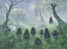 Fantasy Watercolour Painting. forest cloaked figure stones castle wolf moonlight