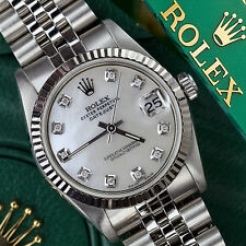 ROLEX 36MM DATEJUST WHITE MOP MOTHER OF PEARL DIAMOND DIAL 18K & SS JUBILE WATCH