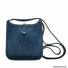 AUTHENTIC HERMES Blue Thalassa TPM Clemence Evelyne w/ Gold Hardware