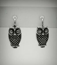 STERLING SILVER EARRINGS SOLID 925 OWL FRENCH CLIP NEW E000469 EMPRESS