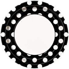"8 Black White Polka Dot Spot Style Party Large 9"" Disposable Paper Plates"