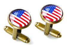 USA Flag Cufflinks - Men's Jewelry - Handmade - Gift Box Included