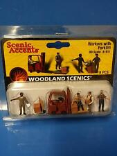 Forklift Dock Workers HO Scale Figures Woodland Scenics Model Trains A1911 #1911