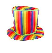 Déguisement Adulte Clown Arc En Ciel Haut Bonnet À Rayures Circus Accessoire