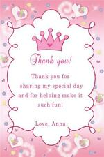 30 Custom Thank you Card Butterfly Princess Crown Baby Shower Birthday Party