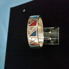 MEN HIGH QUALITY 925 STERLING SILVER TURQUOISE CORAL BAND RING SIZE 11.5 MEXICO