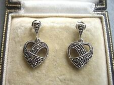 Beautiful Genuine Silver & Marcasite Open Heart Drop Earrings