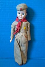 Vintage Mid Century 50s BOY SCOUT Doll Sleepy Googly Blue Eyes Hat Ascot Brown